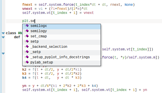 Screenshot of KDevelop's Python support
