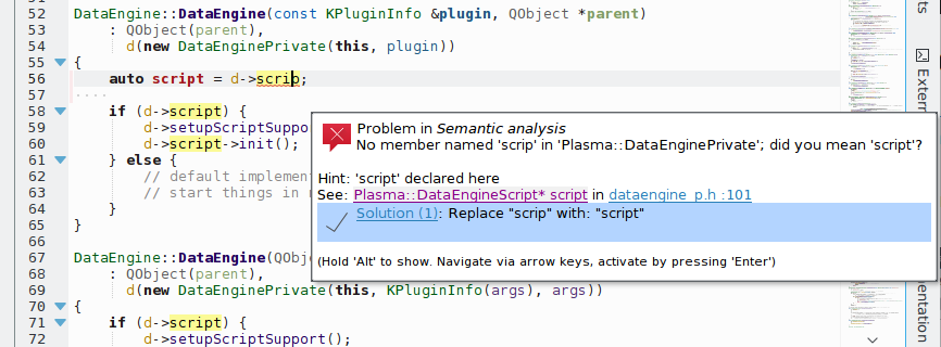 Screenshot of KDevelop showing Clang fixits