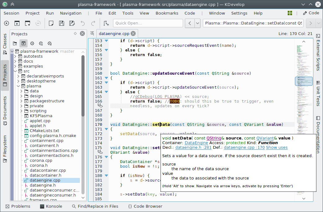 Screenshot showing KDevelop 5.0 under Linux